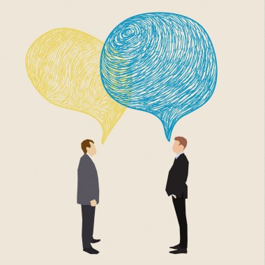 Two men with speech bubbles.
