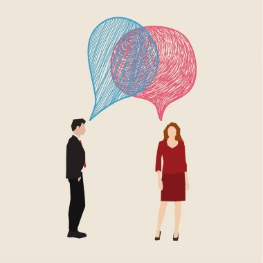 Communication concept. Woman and man with hand drawn speech bubbles. Flat design, vector illustration clip art vector