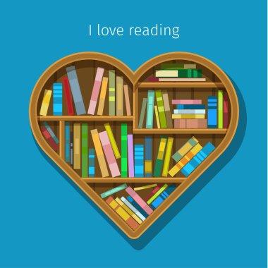 Book shelf in form of heart.