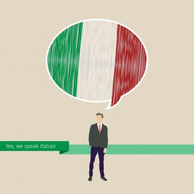 Speech bubble with Italian flag