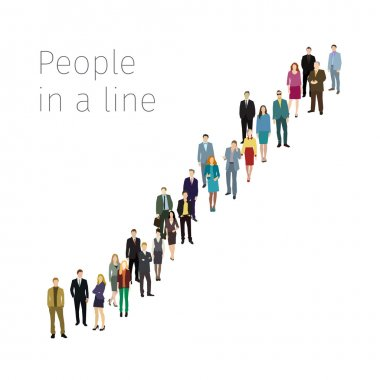Group of business people standing in line