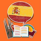 Utazási vagy tanul spanyol fogalma.
