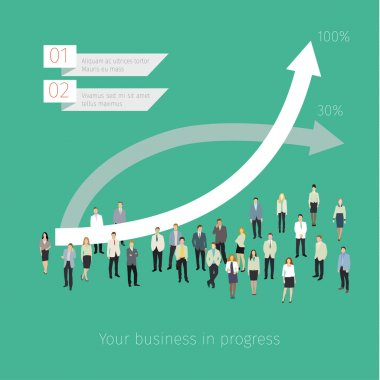 Concept of success. People crowd with graph