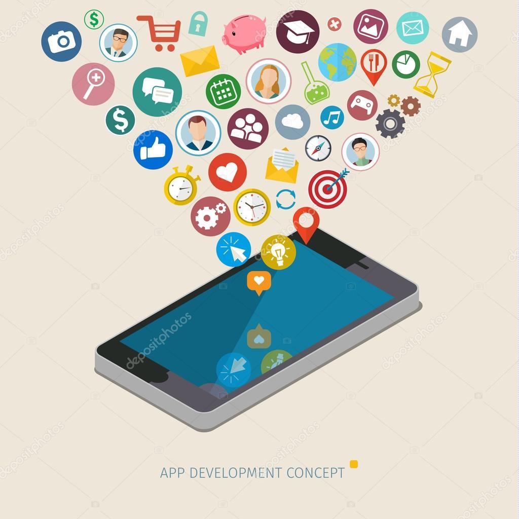 Mobile app development concept