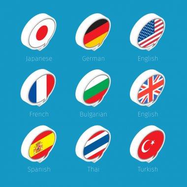Speech bubbles, languages icons