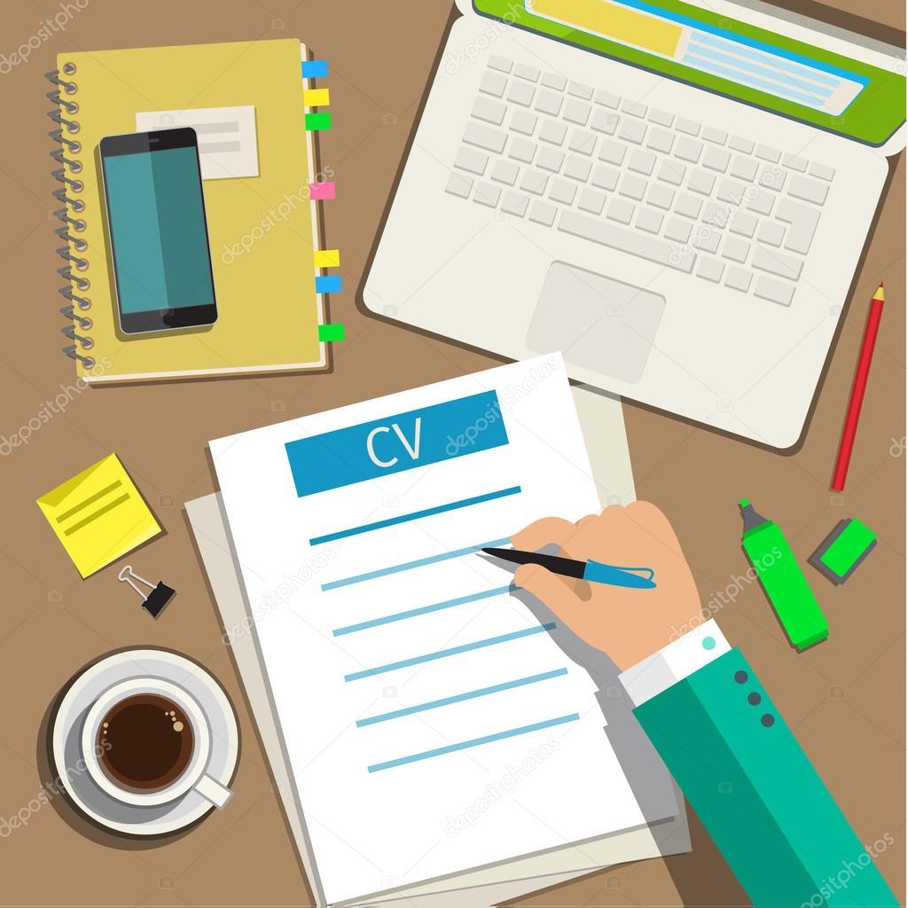 Ein Geschäftskonzept cv Lebenslauf schreiben — Stockvektor ...
