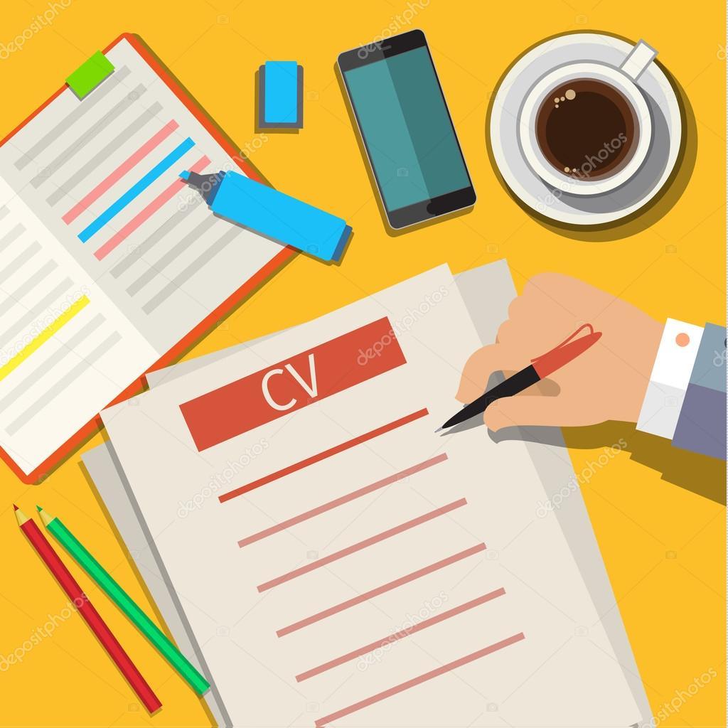 Escribir un concepto de negocio cv curriculum vitae — Vector de ...