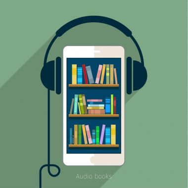 Books in smart phone with headphones