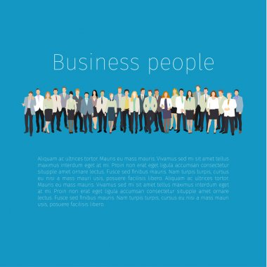 Group of people standing in row. Vector illustration. Flat design. clip art vector