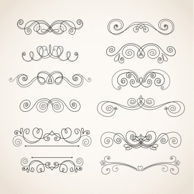 Vector Illustration of Decorative Vintage Elements on white background stock vector