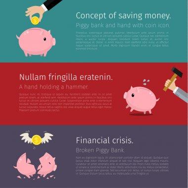 Set of Piggy bank  Flat design.