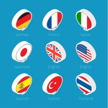 languages icons with countries flags.