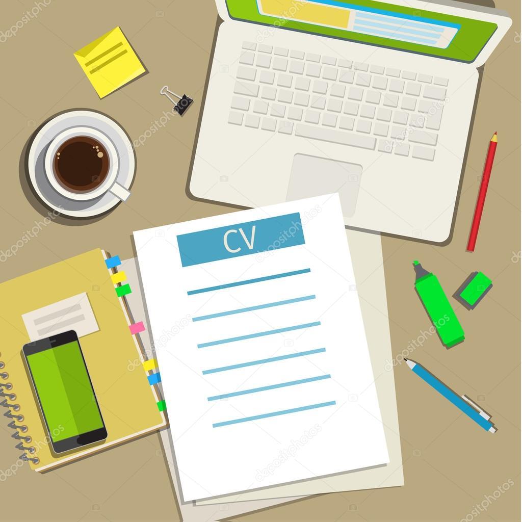 Concepto de escritura empresarial cv curriculum vitae — Vector de ...