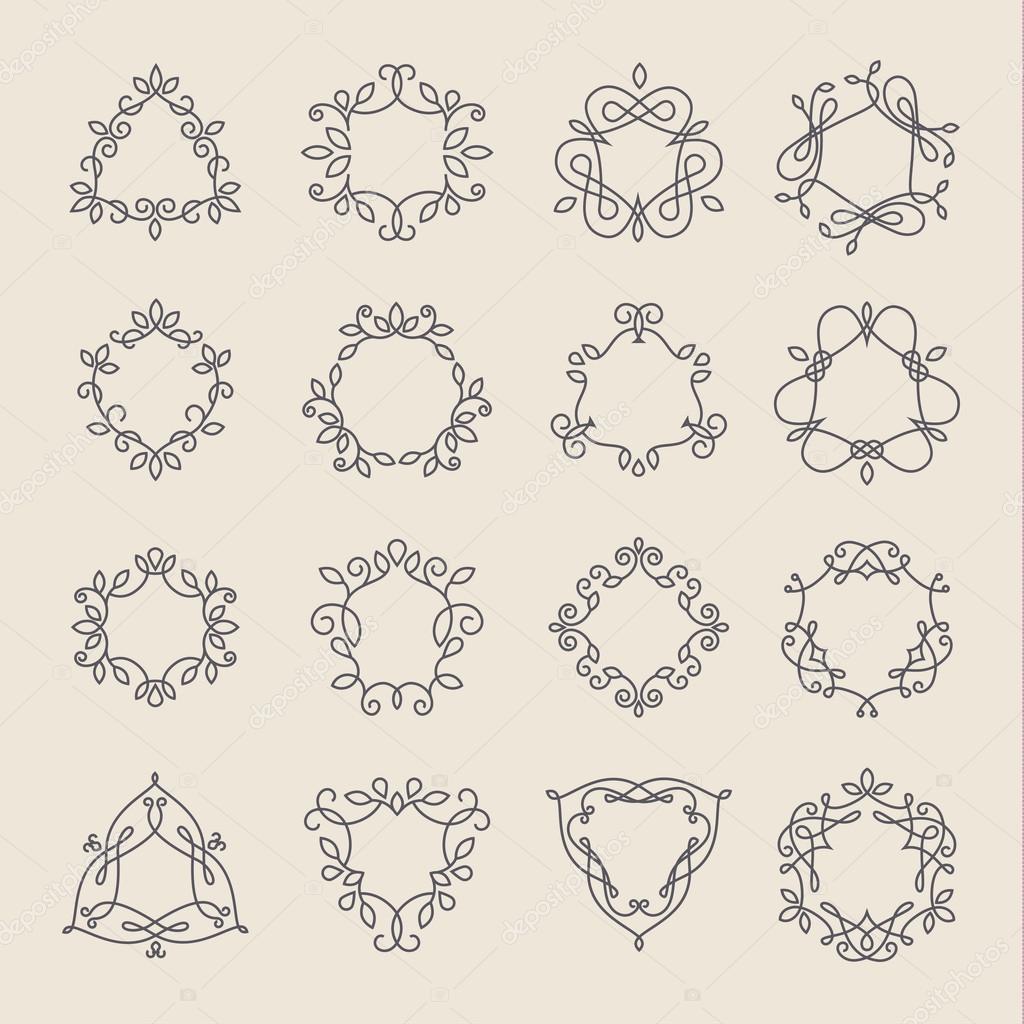 Conjunto de cuadros del monograma de contorno — Vector de stock ...