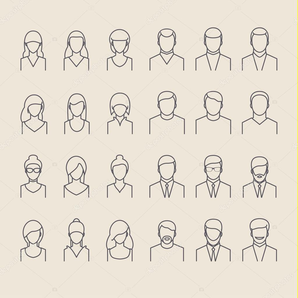 People icons line style
