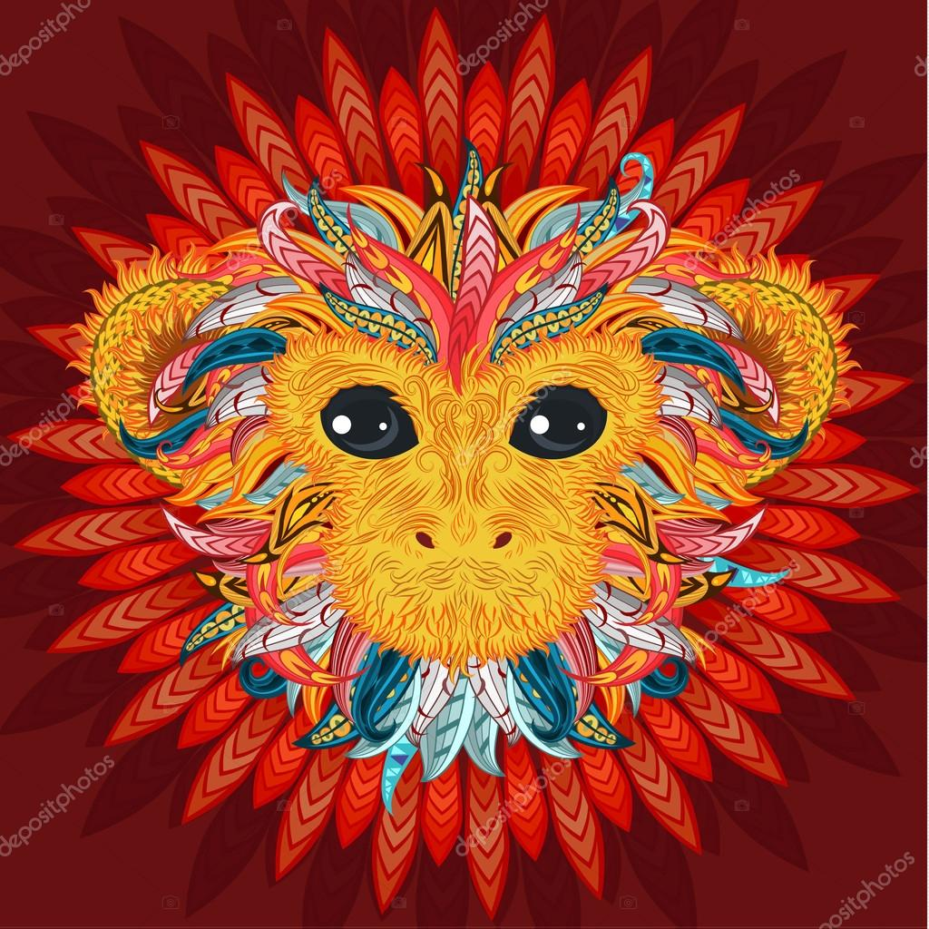 Tattoo design color head of the monkey