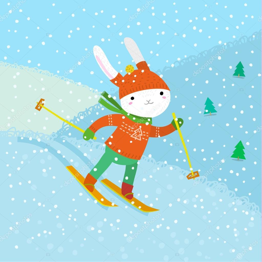 cute white rabbit skiing.