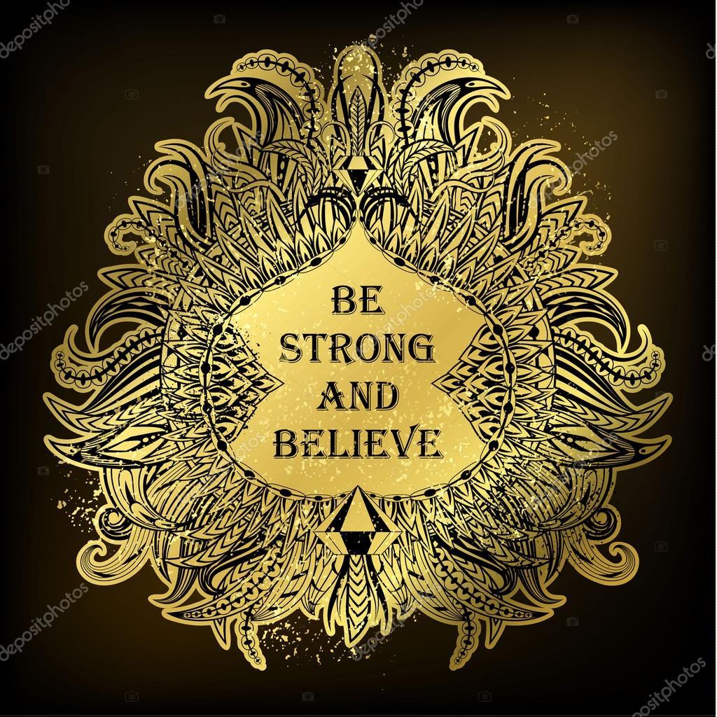 Motivation stark sein und glauben an ethnischen Frame — Stockvektor ...