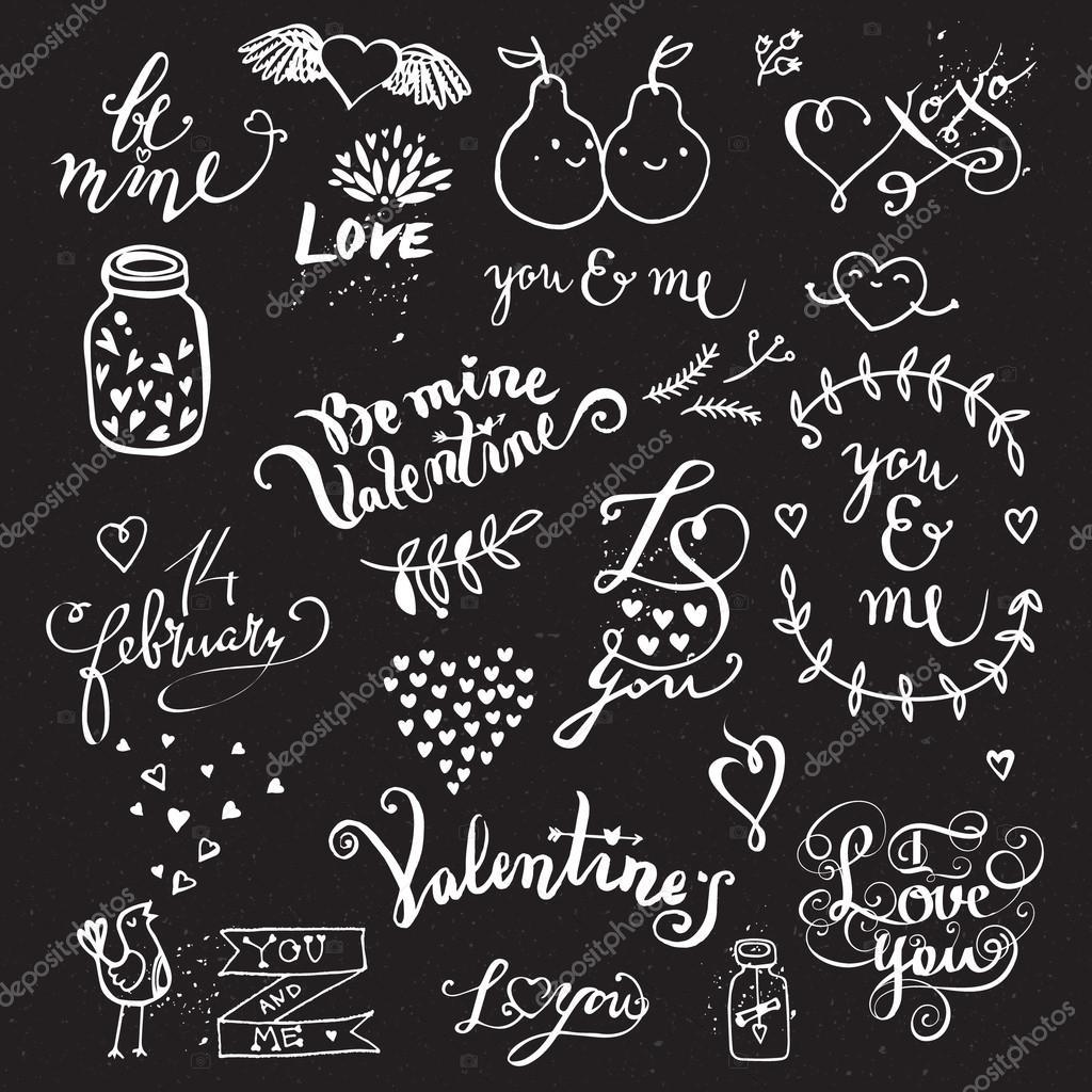 Lindo Mano Dibujado Símbolos De Amor Vector De Stock Vectorstory