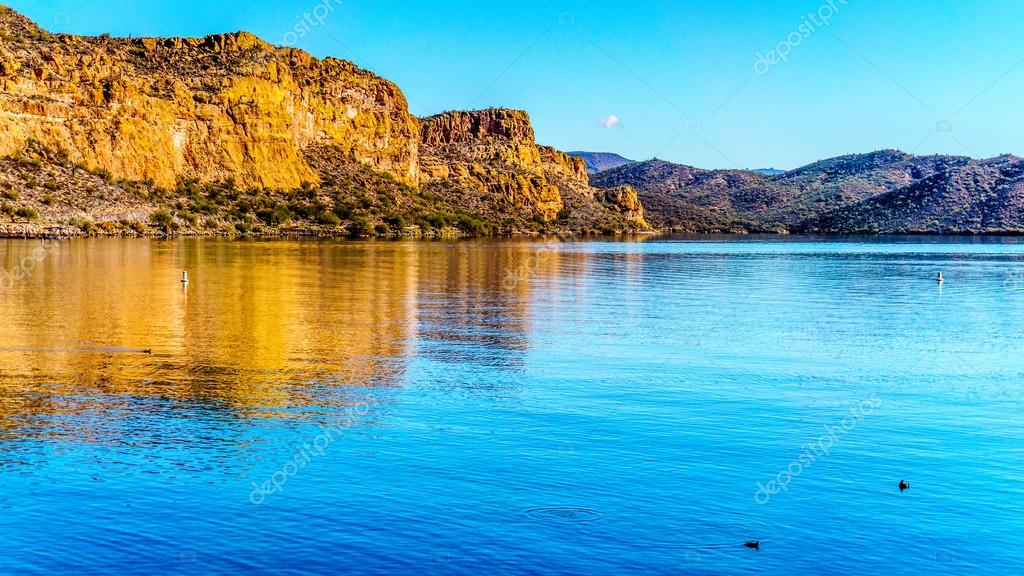 Saguaro Lake and the surrounding mountains in central Arizona