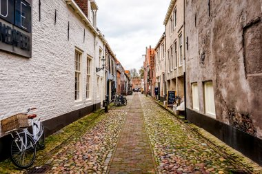 A cobble stone street in the historic village of Elburg