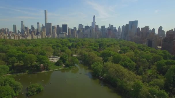 Flying above the Cental park in New york city. Amazing aerial picture. (80 m)