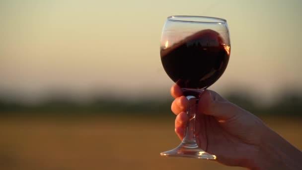 Langsame Aufnahmen der Hand, die das Glas mit Wein auf dem Feld hält, mit Sonnenuntergang im Hintergrund
