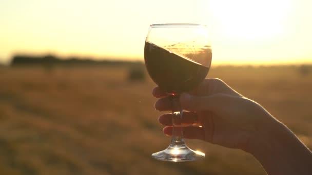 pomalé záběry ruky držící sklenici s vínem na poli se západem slunce v pozadí