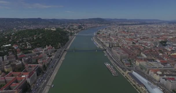 Flying above Danube river in Budapest city. Perfect aerial footages