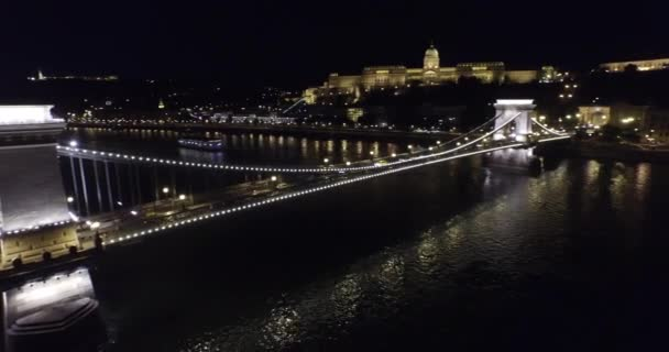 Aerial night view on beautiful bridges of Budapest