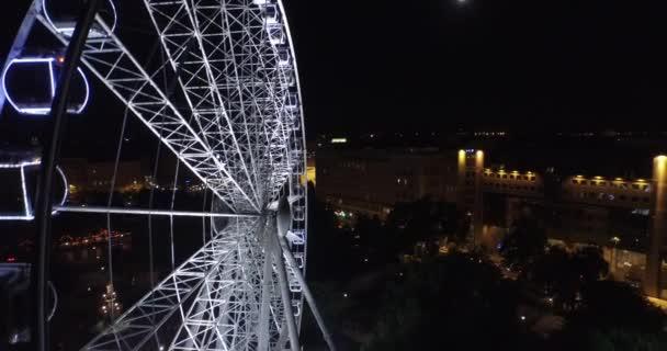 Budapest eye , the  Giant Ferris Wheel in the moon light. (Aerial)