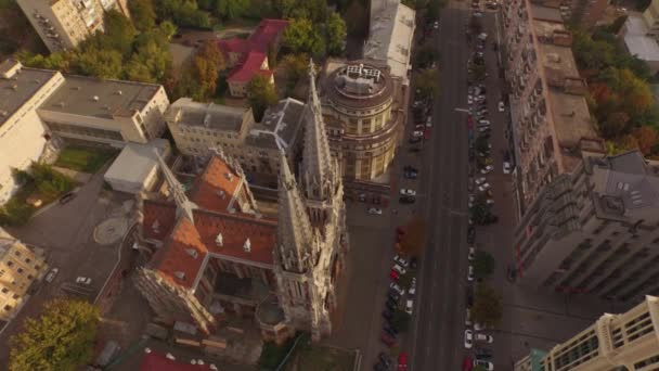 St. Nicholas Roman Catholic Cathedral in gothic style. Aerial filming