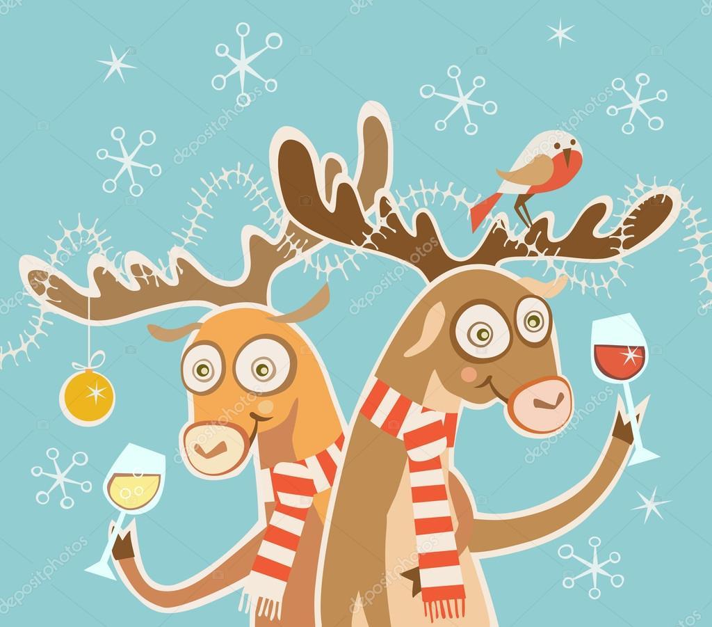 Рождественская музыкальная открытка с оленями