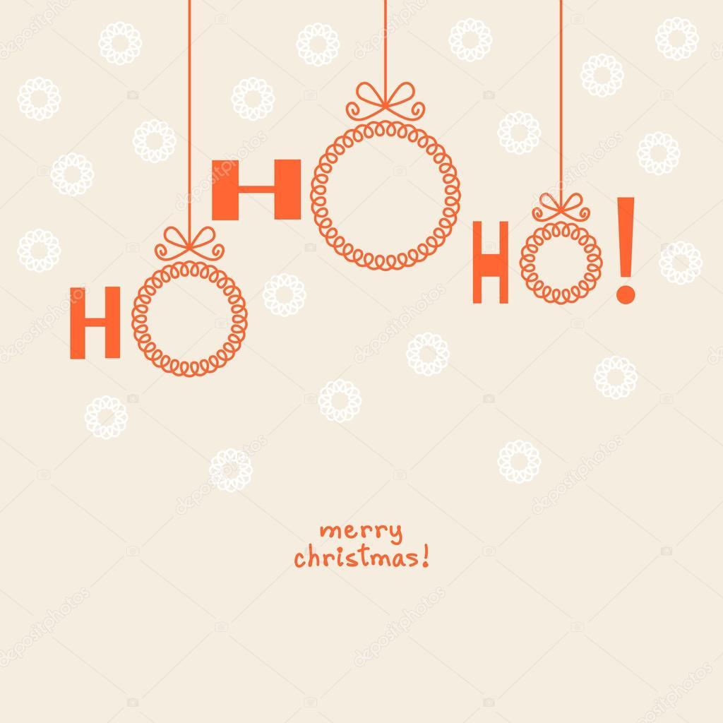 Convite carto decorativo vetores de stock anfisafocusova vector christmas ball ho ho ho invitation greeting decorative card with frame for family photo or text box vetor de anfisafocusova stopboris Images