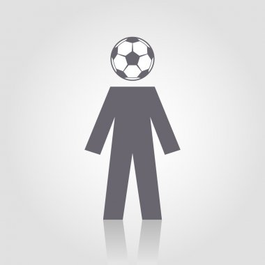 Icon football fan with head of soccer ball
