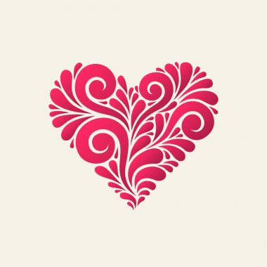 Heart icon from swirl shapes