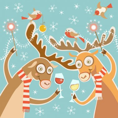 Christmas card with cartoon deer
