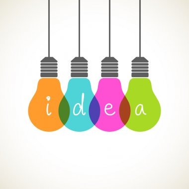 Light bulb icons with concept of idea