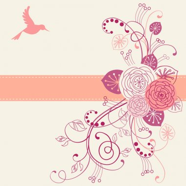 Design with flowers, bird and ribbon