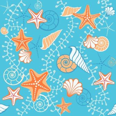 Seamless retro sea blue pattern