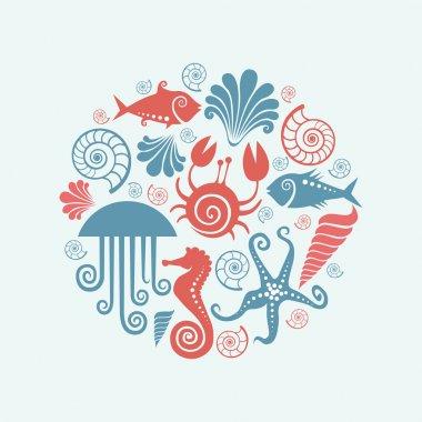 Background of sea fauna