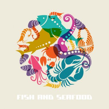 Color fish and seafood icon