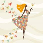 Woman in dress of  butterflies