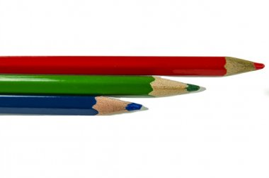 Red Blue Green colored pencils and dream pen