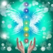 Photo Healing Hands and seven chakras