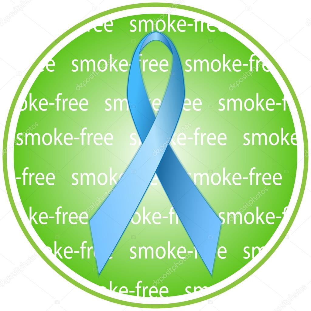 Blue Ribbon As A Symbol Of Anti Tobacco And Awareness On The Harms