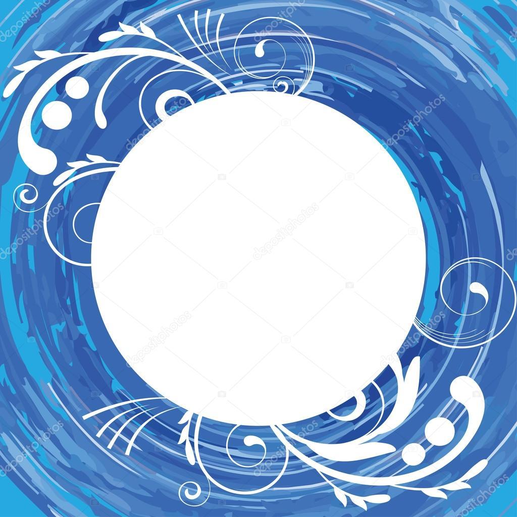 Fondo azul acuarela con un marco redondo y un diseño floral — Vector ...