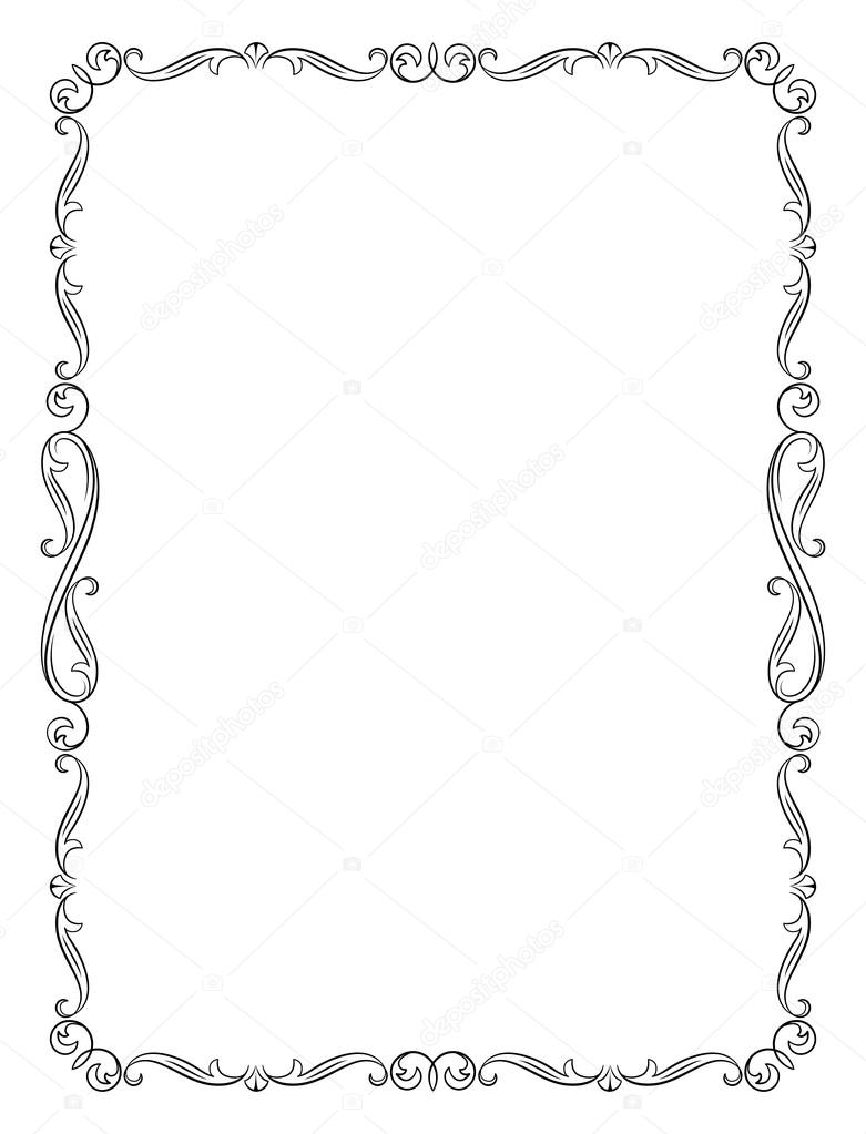 decorative black frame letter page proportions stock vector