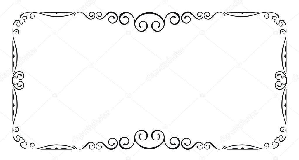 Schwarzer Rahmen mit Strudeln, Seite Dekoration — Stockvektor ...