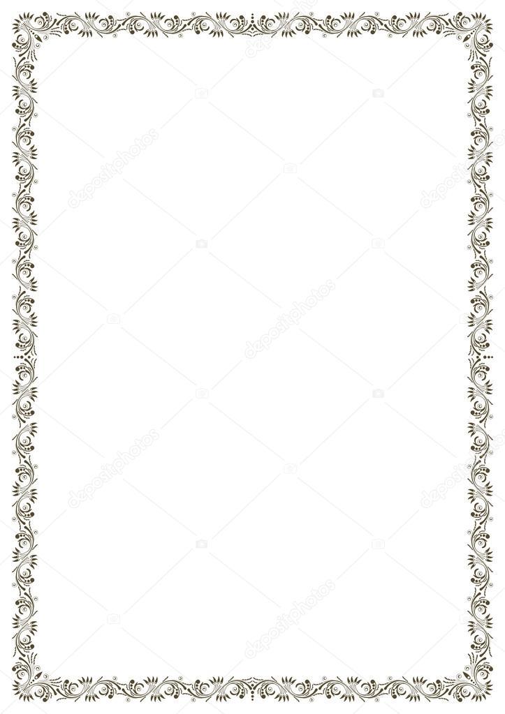 Verzierten schwarzen Rahmen, A4-Seiten-format — Stockvektor ...